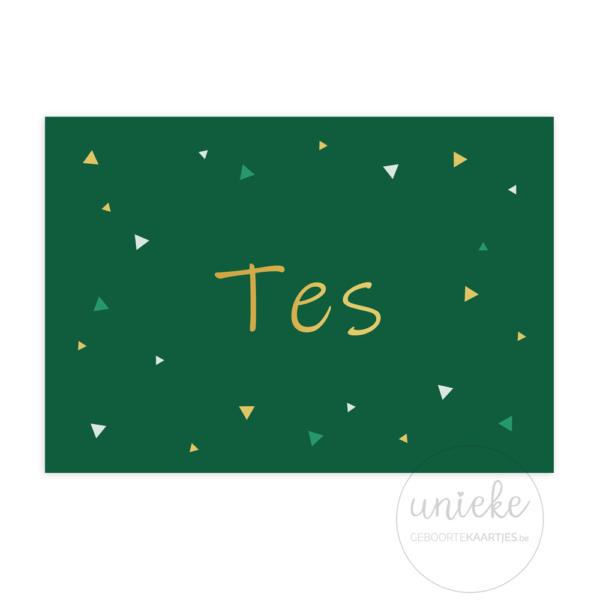 Voorkant van het geboortekaartje van Tes