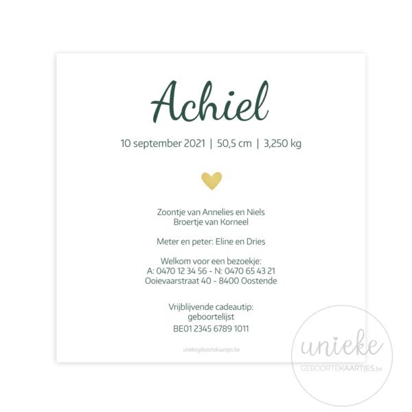 Achterkant van het kaartje van Achiel