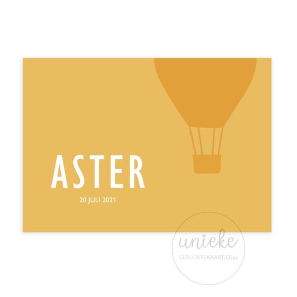 Voorkant van het kaartje van Aster
