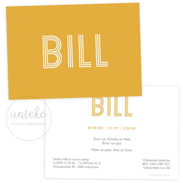 Geboortekaartje van Bill