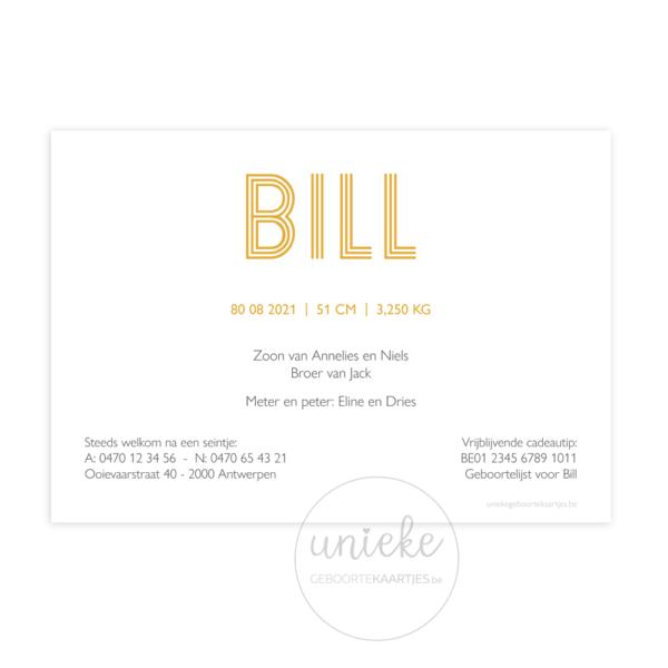 Achterkant van het kaartje van Bill