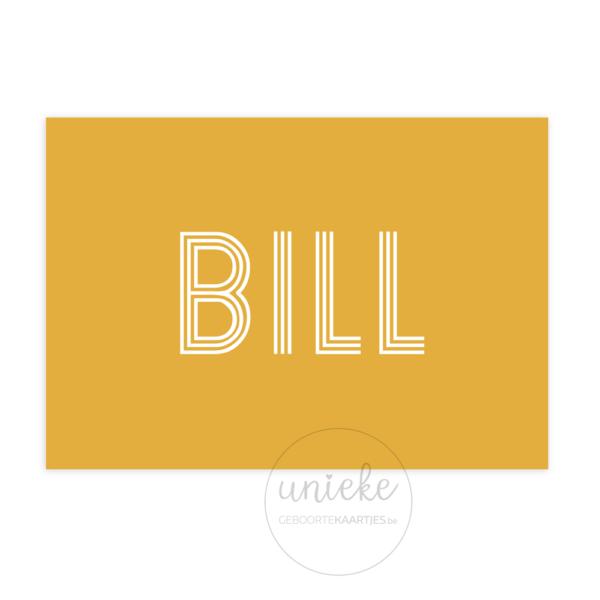 Voorkant van het kaartje van Bill