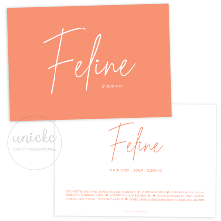 Geboortekaartje van Feline
