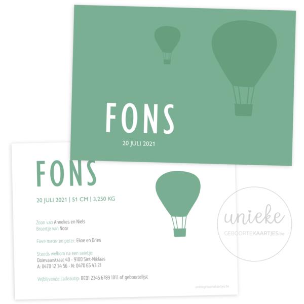 Geboortekaartje van Fons