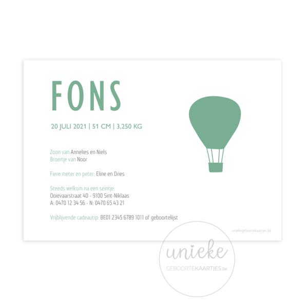 achterkant van het kaartje van Fons