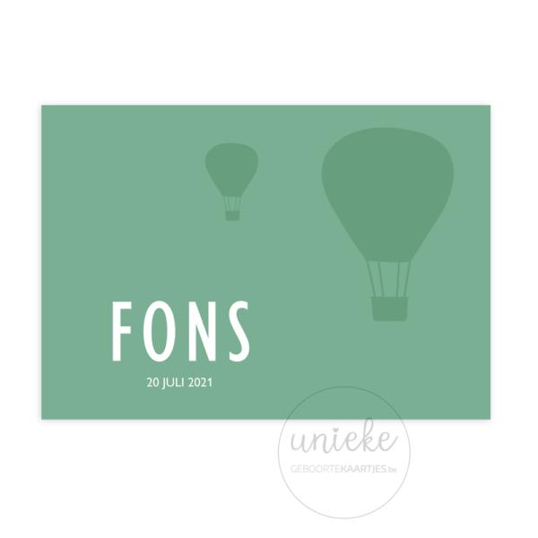 voorkant van het kaartje van Fons