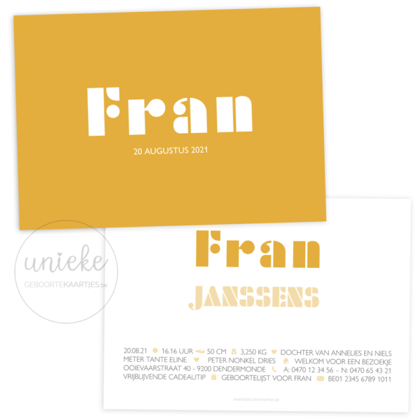 Geboortekaartje van Fran