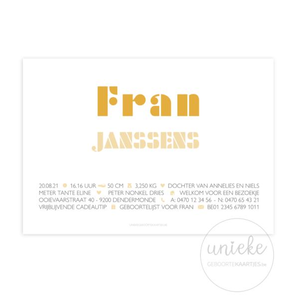 Achterkant van het geboortekaartje van Fran
