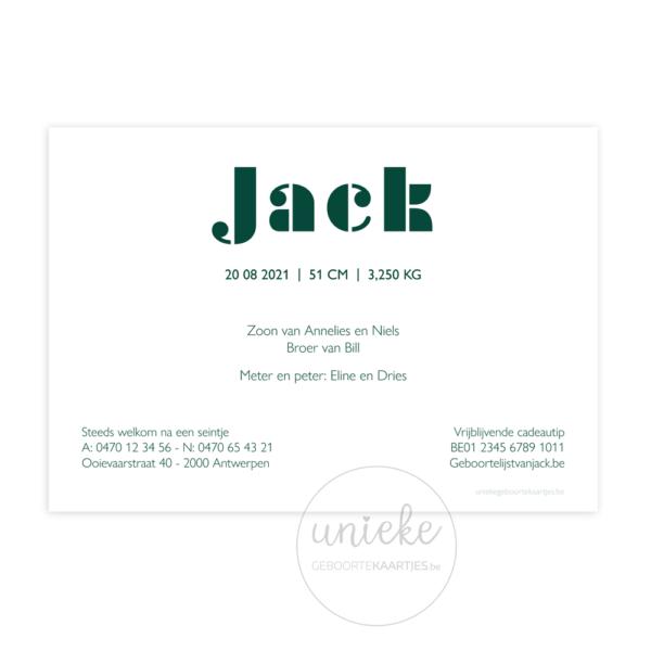 Achterkant van het kaartje van Jack