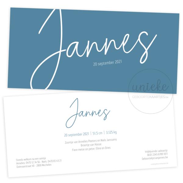 Geboortekaartje van Jannes