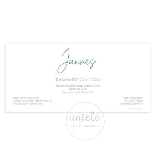 Achterkant van het geboortekaartje van Jannes