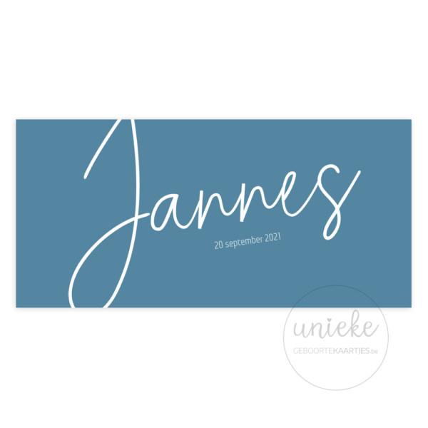 Voorkant van het geboortekaartje van Jannes