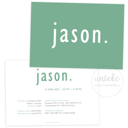 Voorkant en achterkant van het geboortekaartje van Jason