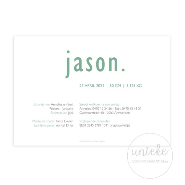 Achterkant van het kaartje van Jason