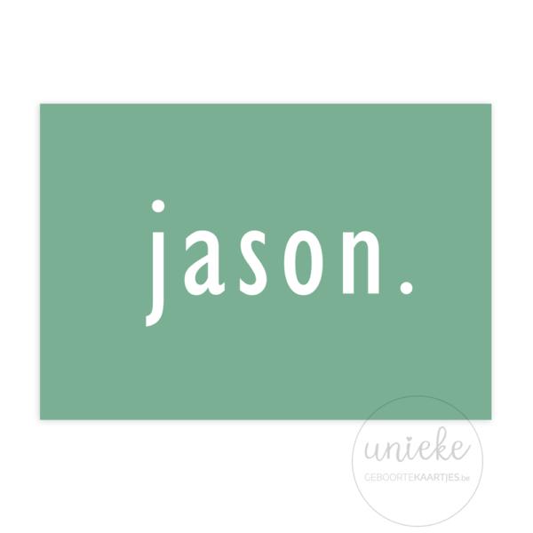 Voorkant van het kaartje van Jason