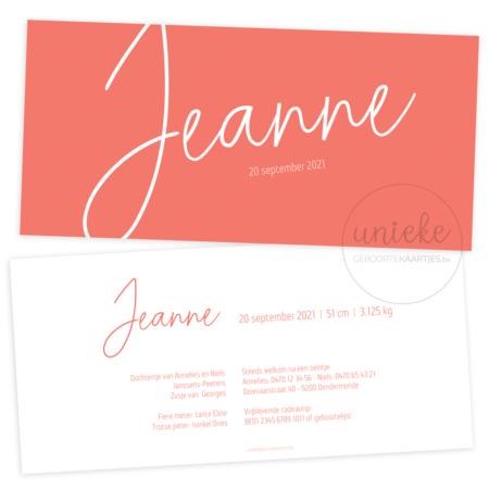 Geboortekaartje van Jeanne
