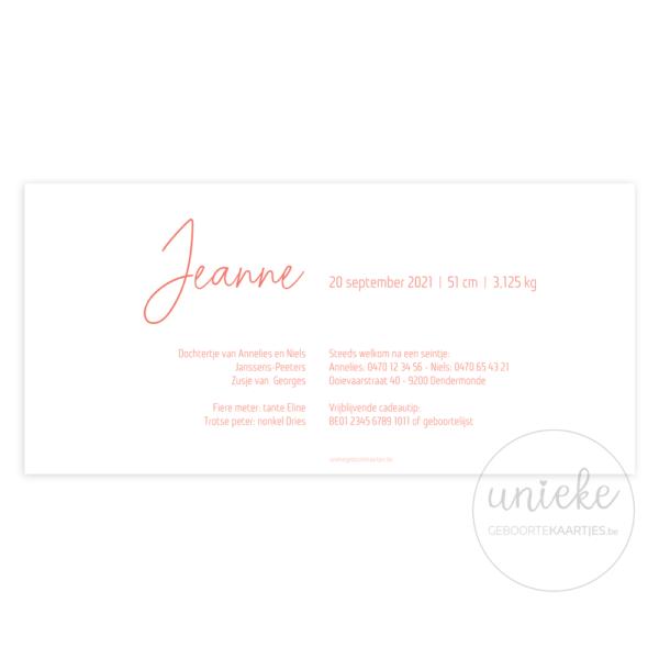 Achterkant van het geboortekaartje van Jeanne