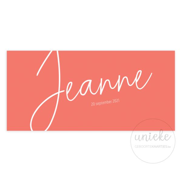 Voorkant van het kaartje van Jeanne