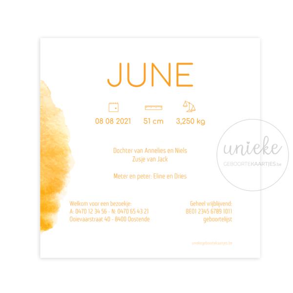 Achterkant van het kaartje van June