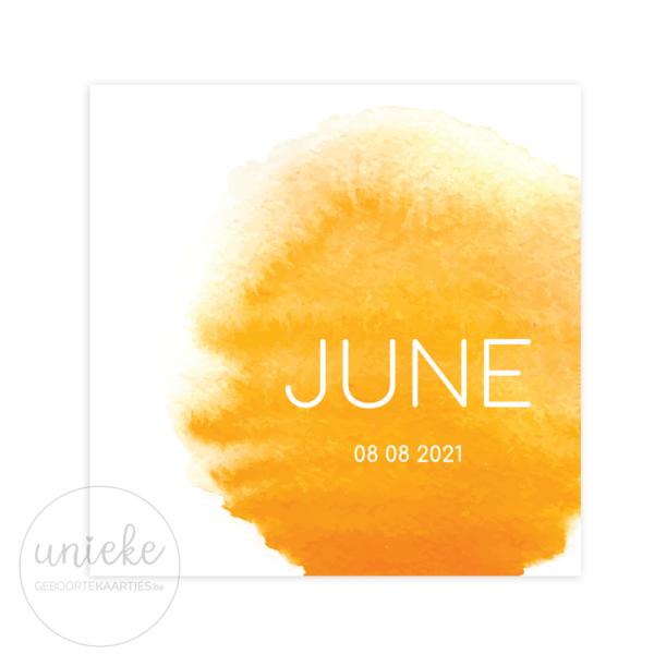 Voorkant van het kaartje van June