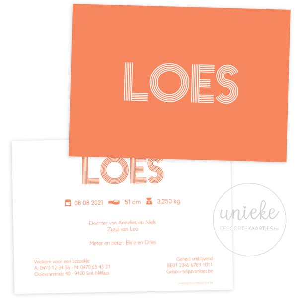 Geboortekaartje van Loes