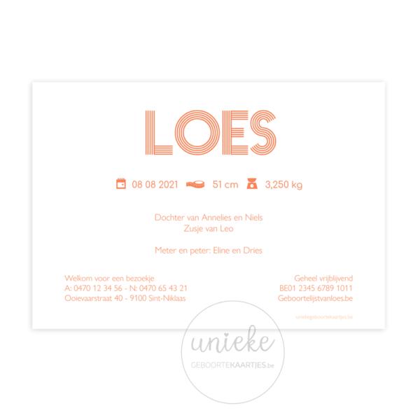 Achterkant van het kaartje van Loes