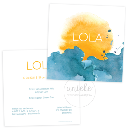 Geboortekaartje van Lola