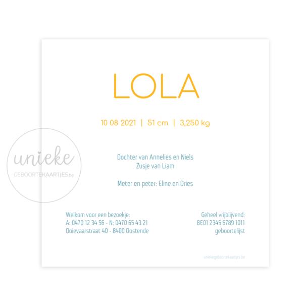 Achterkant van het kaartje van Lola