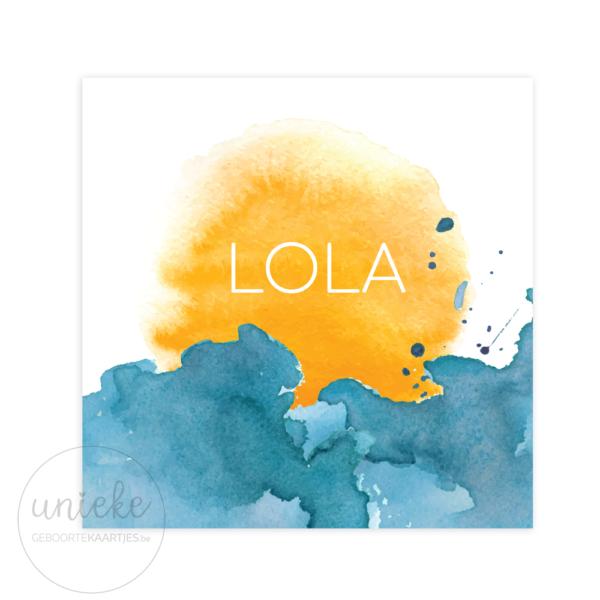 Voorkant van het kaartje van Lola