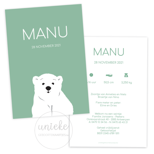 Geboortekaartje van Manu