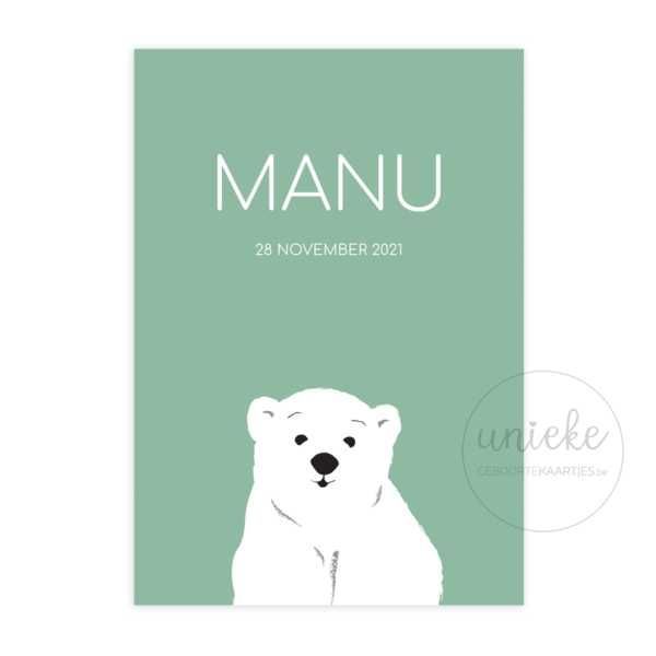 Voorkant van het geboortekaartje van Manu