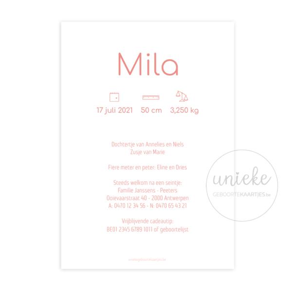 Achterkant van het geboortekaartje van Mila