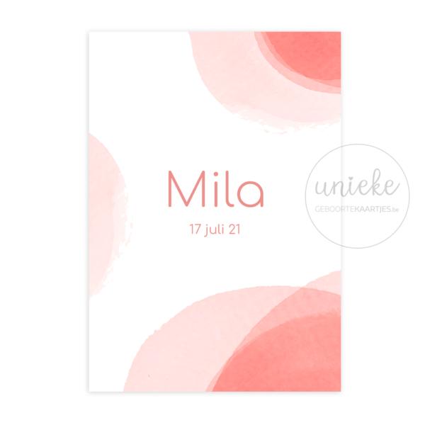 Voorkant van het kaartje van Mila