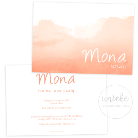 Geboortekaartje van Mona