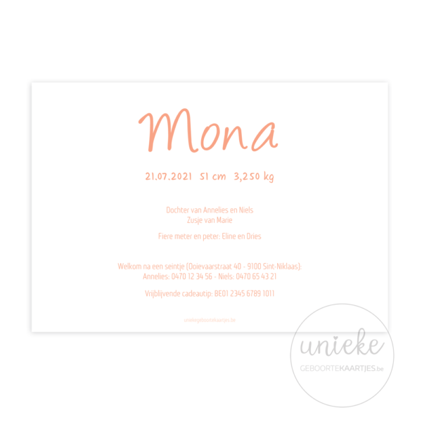 Achterkant van het kaartje van Mona