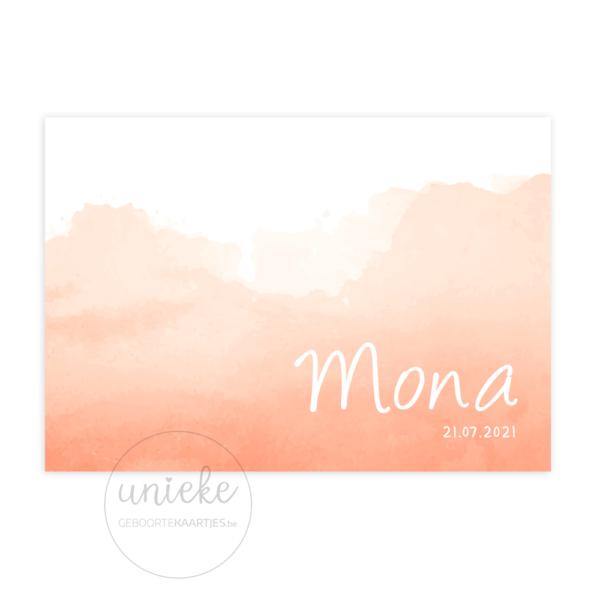 Voorkant van het kaartje van Mona