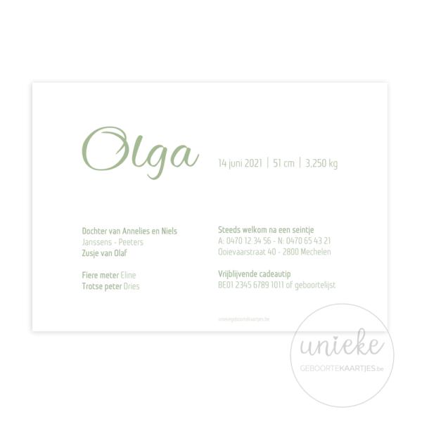 Achterkant van het kaartje van Olga