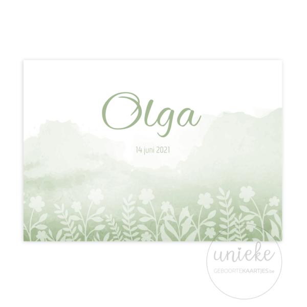 Voorkant van het geboortekaartje van Olga