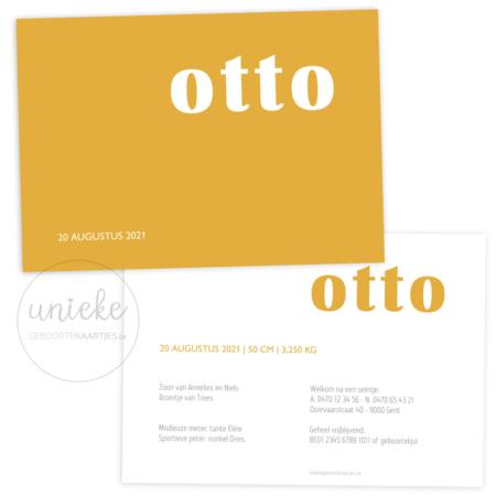 Voorkant en achterkant van het kaartje vanOtto
