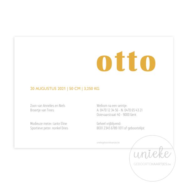 Achterkant van het kaartje van Otto