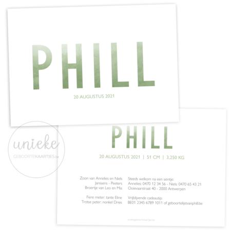 Voorkant en achterkant van het geboortekaartje van Phill