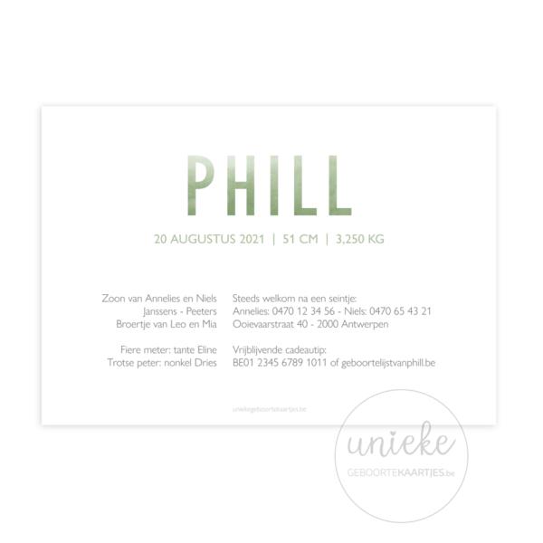 Achterkant van het kaartje van Phill