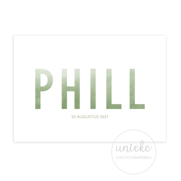 Voorkant van het kaartje van Phill