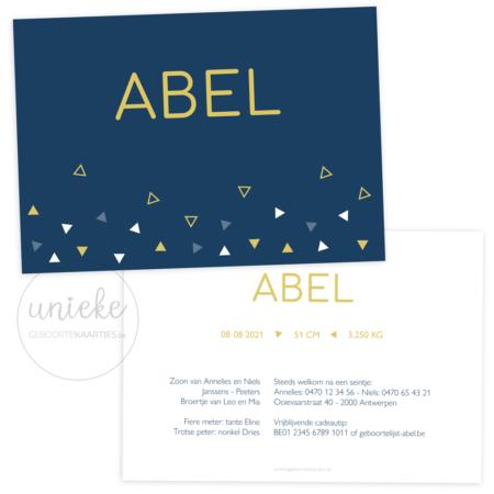 Geboortekaartje van Abel