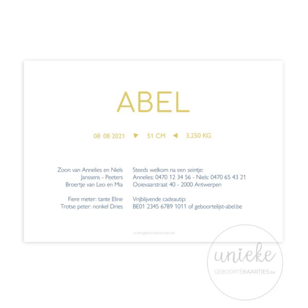 Achterkant van het geboortekaartje van Abel