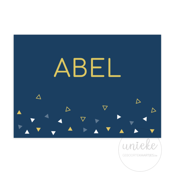 Voorkant van het geboortekaartje van Abel