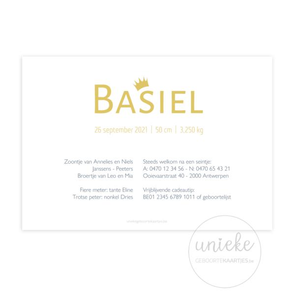 Achterkant van het geboortekaartje van Basiel
