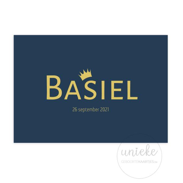 Voorkant van het geboortekaartje van Basiel