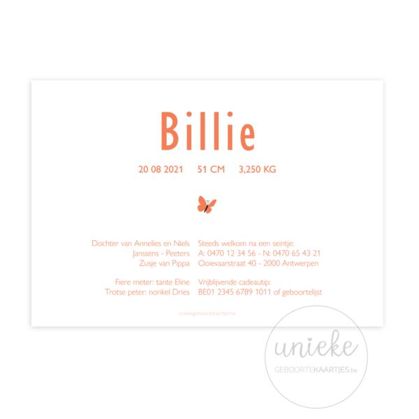 Achterkant van het kaartje van Billie