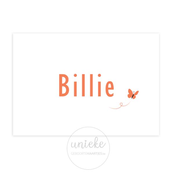 Voorkant van het geboortekaartje van Billie